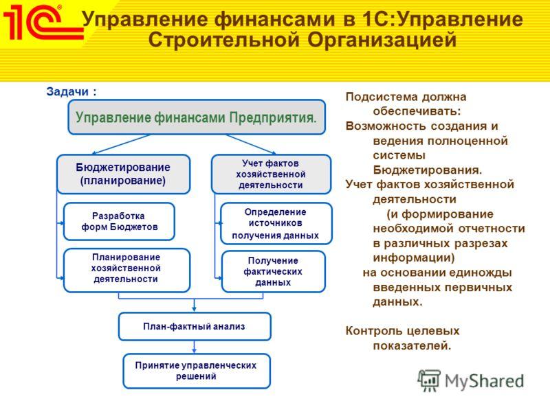 Управление финансами в 1С:Управление Строительной Организацией Управление финансами Предприятия. Учет фактов хозяйственной деятельности Определение источников получения данных Получение фактических данных Бюджетирование (планирование) Разработка форм