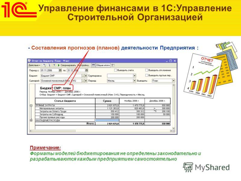 Управление финансами в 1С:Управление Строительной Организацией - Составления прогнозов (планов) деятельности Предприятия : Примечание: Форматы моделей бюджетирования не определены законодательно и разрабатываются каждым предприятием самостоятельно