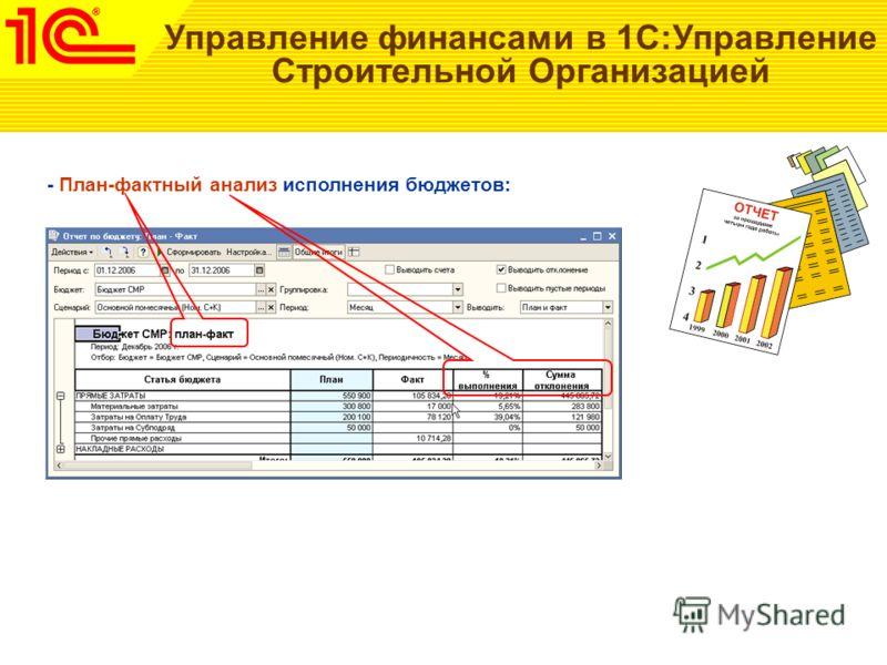 Управление финансами в 1С:Управление Строительной Организацией - План-фактный анализ исполнения бюджетов: