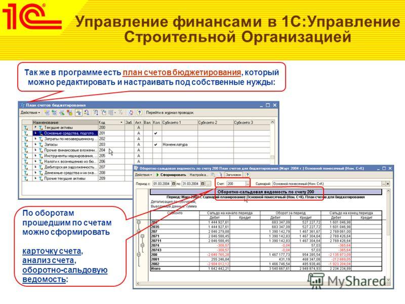 Управление финансами в 1С:Управление Строительной Организацией Так же в программе есть план счетов бюджетирования, который можно редактировать и настраивать под собственные нужды: По оборотам прошедшим по счетам можно сформировать карточку счета, ана