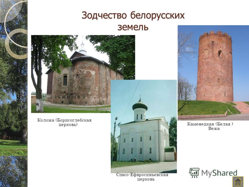 Зодчество белорусских земель Коложа (Борисоглебская церковь) Спасо-Ефвросиньевская церковь Каменецкая (Белая ) Вежа