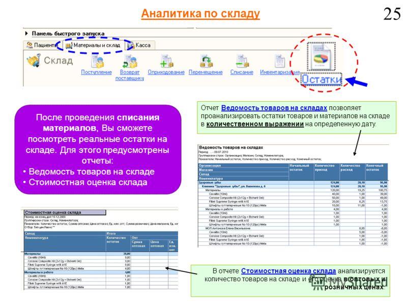 Отчет Ведомость товаров на складах позволяет проанализировать остатки товаров и материалов на складе в количественном выражении на определенную дату. В отчете Стоимостная оценка склада анализируется количество товаров на складе и его оценка в оптовых