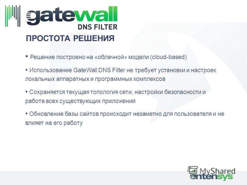 ПРОСТОТА РЕШЕНИЯ Решение построено на «облачной» модели (cloud-based) Использование GateWall DNS Filter не требует установки и настроек локальных аппаратных и программных комплексов Сохраняется текущая топология сети, настройки безопасности и работа