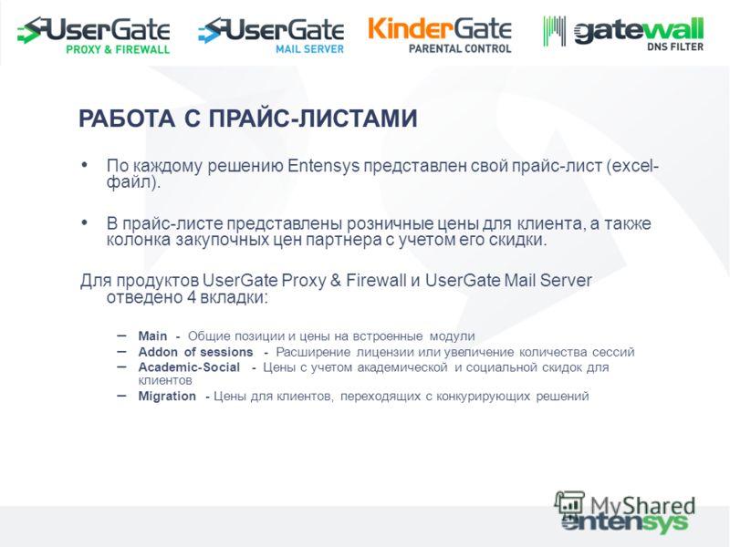 По каждому решению Entensys представлен свой прайс-лист (excel- файл). В прайс-листе представлены розничные цены для клиента, а также колонка закупочных цен партнера с учетом его скидки. Для продуктов UserGate Proxy & Firewall и UserGate Mail Server