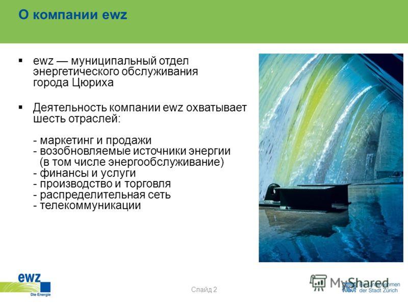 О компании ewz ewz муниципальный отдел энергетического обслуживания города Цюриха Деятельность компании ewz охватывает шесть отраслей: - маркетинг и продажи - возобновляемые источники энергии (в том числе энергообслуживание) - финансы и услуги - прои