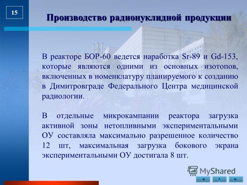 15 Производство радионуклидной продукции В реакторе БОР-60 ведется наработка Sr-89 и Gd-153, которые являются одними из основных изотопов, включенных в номенклатуру планируемого к созданию в Димитровграде Федерального Центра медицинской радиологии. В