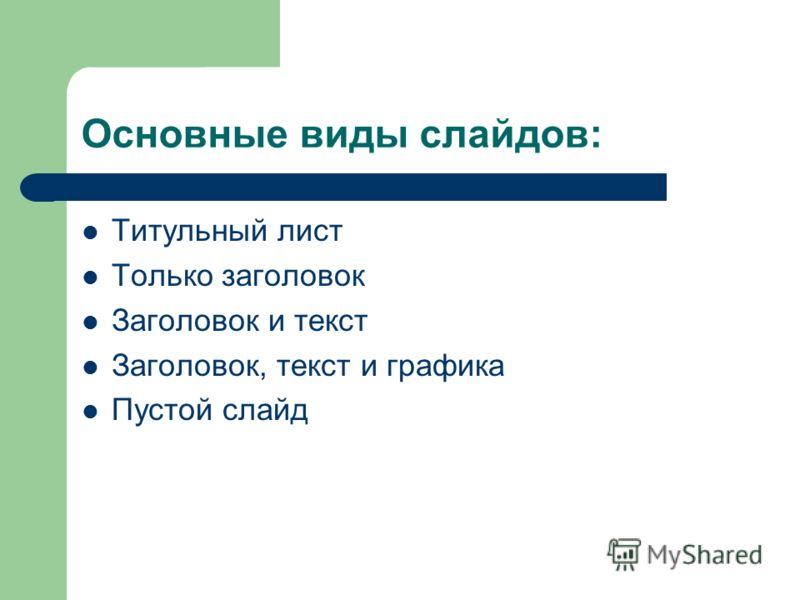 Основные виды слайдов: Титульный лист Только заголовок Заголовок и текст Заголовок, текст и графика Пустой слайд