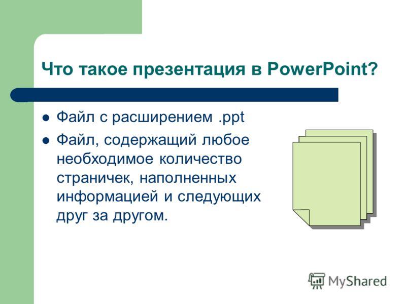 Что такое презентация в PowerPoint? Файл с расширением.ppt Файл, содержащий любое необходимое количество страничек, наполненных информацией и следующих друг за другом.