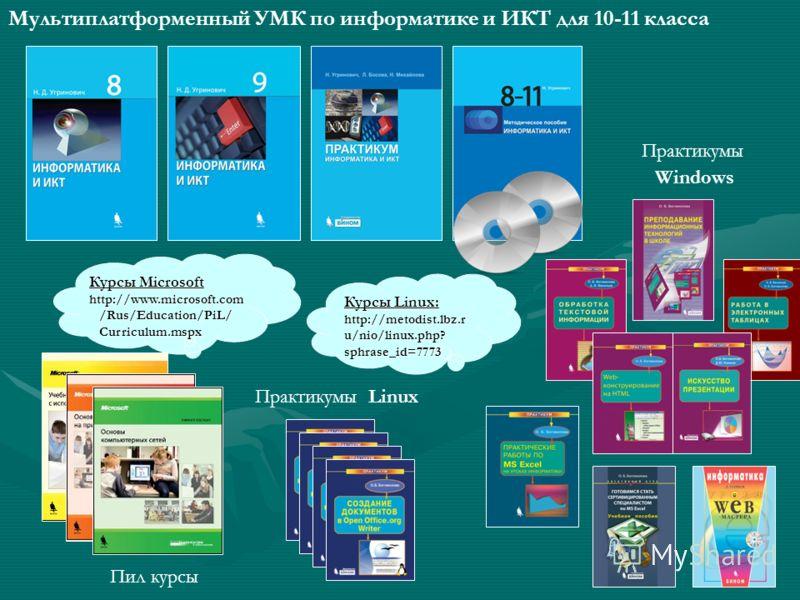 Курсы Microsoft http://www.microsoft.com /Rus/Education/PiL/ /Rus/Education/PiL/ Curriculum.mspx Curriculum.mspx Курсы Linux: http://metodist.lbz.r u/nio/linux.php? sphrase_id=7773 Мультиплатформенный УМК по информатике и ИКТ для 10-11 класса Пил кур