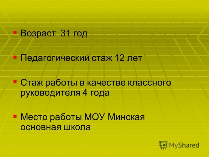 Возраст 31 год Педагогический стаж 12 лет Стаж работы в качестве классного руководителя 4 года Место работы МОУ Минская основная школа