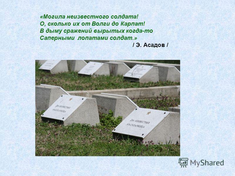 «Могила неизвестного солдата! О, сколько их от Волги до Карпат! В дыму сражений вырытых когда-то Саперными лопатами солдат.» / Э. Асадов /
