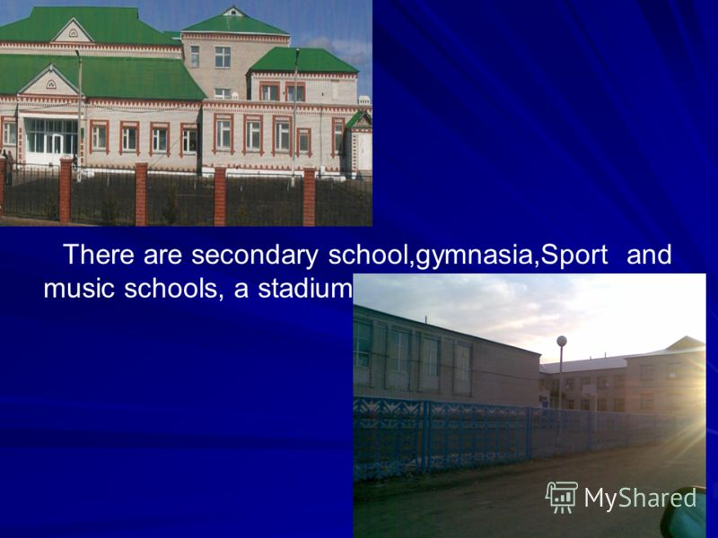 There are secondary school,gymnasia,Sport and music schools, a stadium.