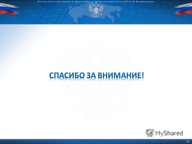 © 2009 D.Kleymenov Министерство связи и массовых коммуникаций Российской Федерации 12