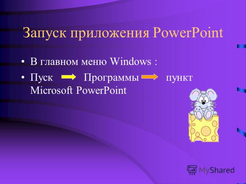 Запуск приложения PowerPoint В главном меню Windows : Пуск Программы пункт Microsoft PowerPoint