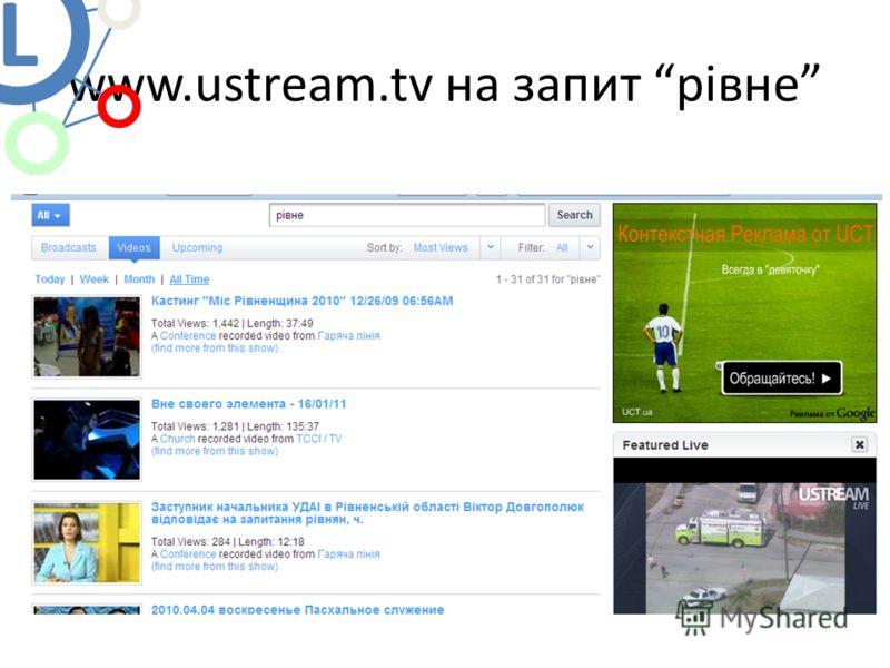 www.ustream.tv на запит рівне L