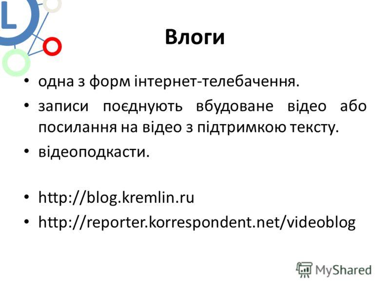 Влоги одна з форм інтернет-телебачення. записи поєднують вбудоване відео або посилання на відео з підтримкою тексту. відеоподкасти. http://blog.kremlin.ru http://reporter.korrespondent.net/videoblog L