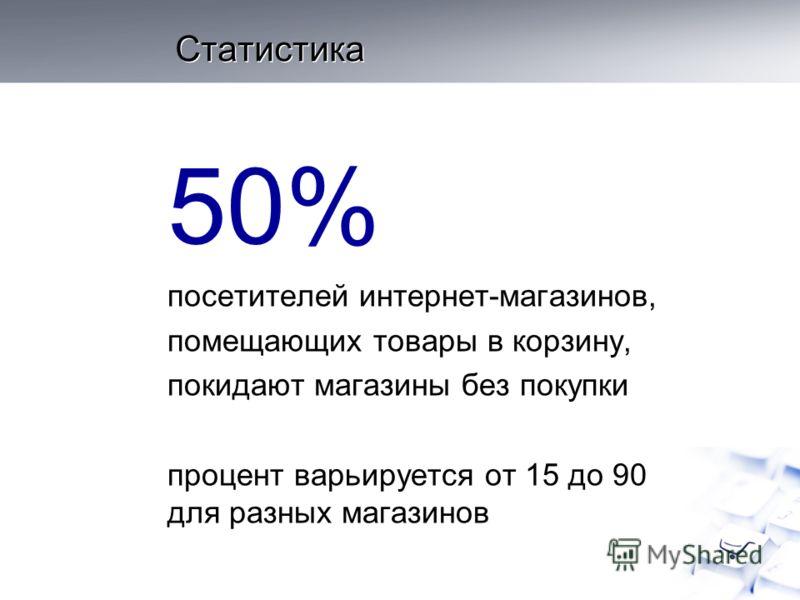 Статистика 50% посетителей интернет-магазинов, помещающих товары в корзину, покидают магазины без покупки процент варьируется от 15 до 90 для разных магазинов