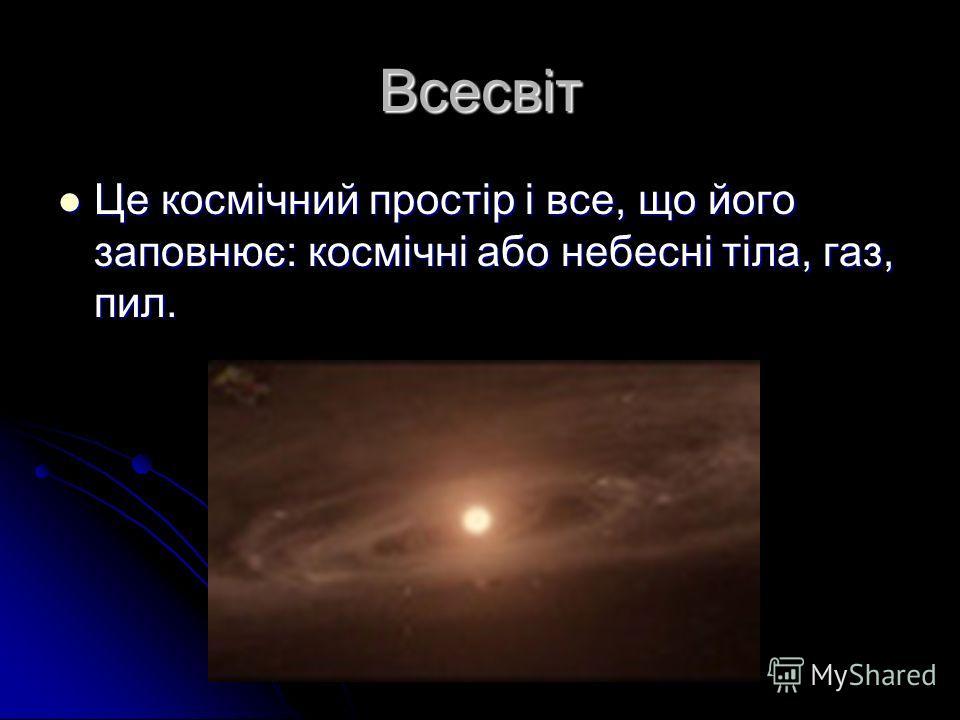 Всесвіт Це космічний простір і все, що його заповнює: космічні або небесні тіла, газ, пил.