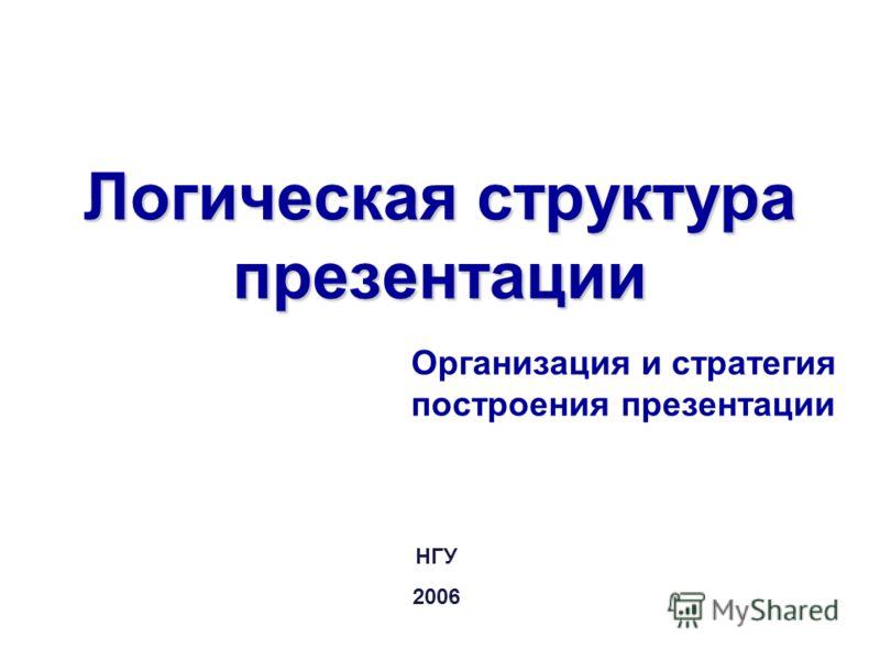 Логическая структура презентации Организация и стратегия построения презентации НГУ 2006