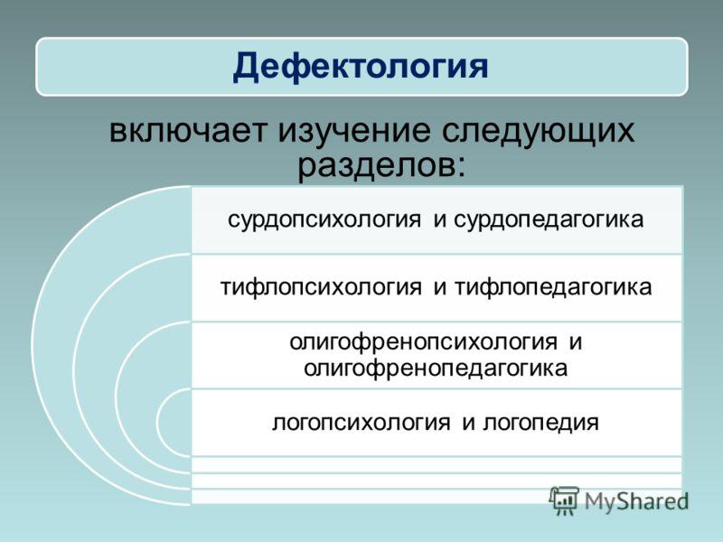 Дефектология сурдопсихология и сурдопедагогика тифлопсихология и тифлопедагогика олигофренопсихология и олигофренопедагогика логопсихология и логопедия включает изучение следующих разделов: