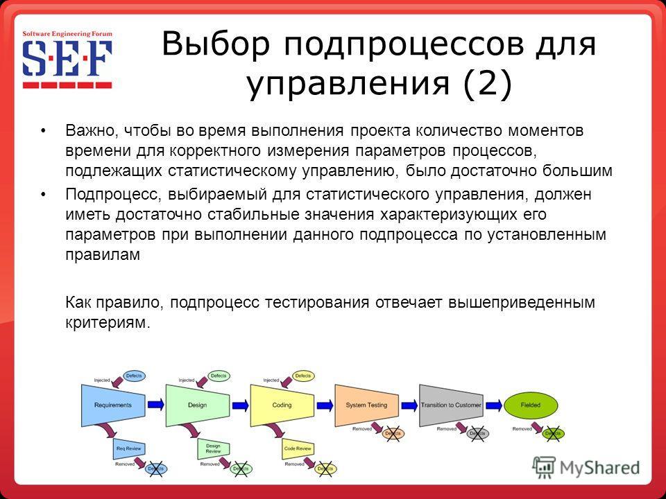 Выбор процессов для управления (2) Важно, чтобы во время выполнения проекта количество моментов времени для корректного измерения параметров процессов, подлежащих статистическому управлению, было достаточно большим Подпроцесс, выбираемый для статисти