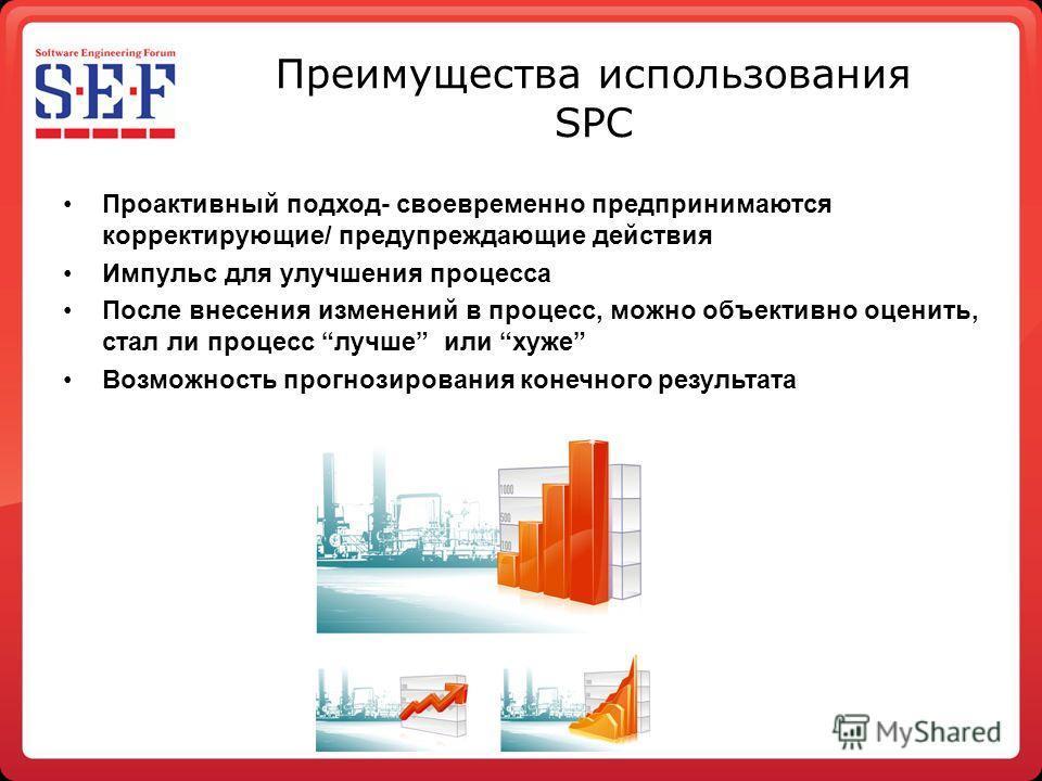 Преимущества использования SPC Проактивный подход- своевременно предпринимаются корректирующие/ предупреждающие действия Импульс для улучшения процесса После внесения изменений в процесс, можно объективно оценить, стал ли процесс лучше или хуже Возмо