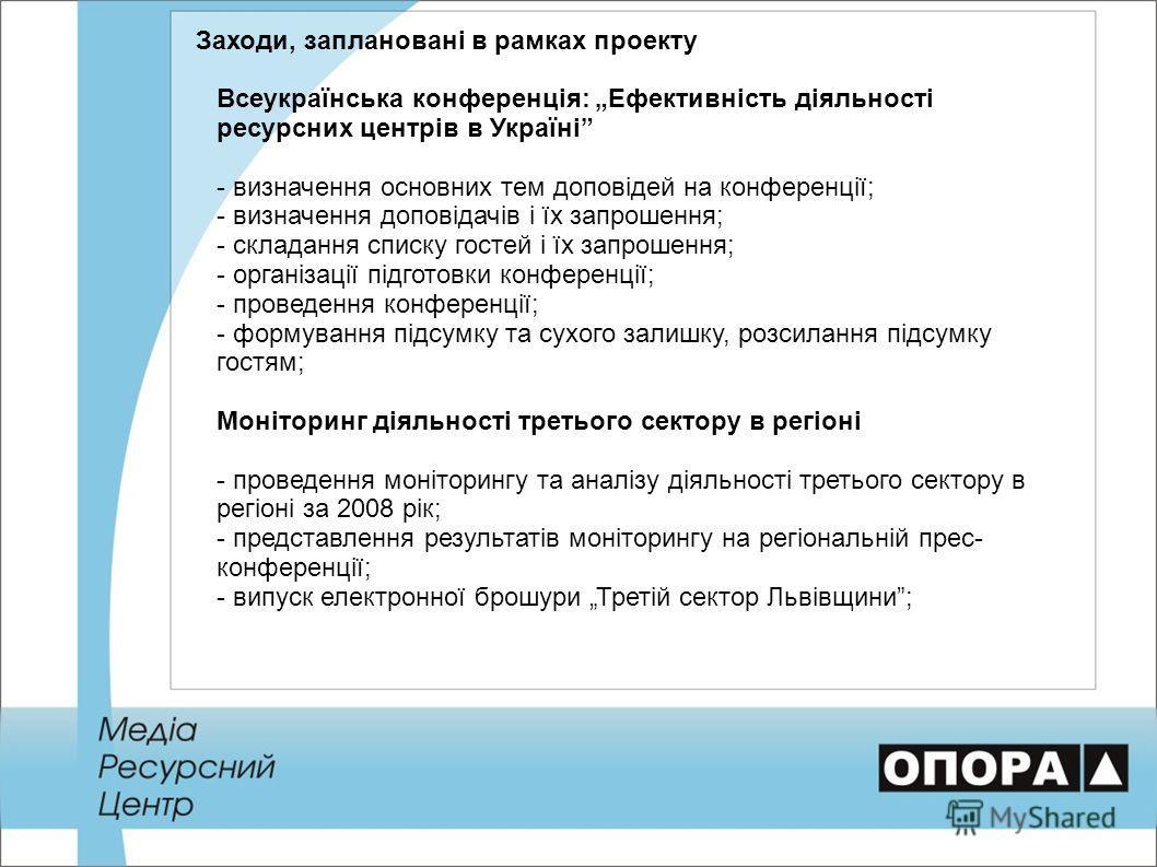 Заходи, заплановані в рамках проекту Всеукраїнська конференція: Ефективність діяльності ресурсних центрів в Україні - визначення основних тем доповідей на конференції; - визначення доповідачів і їх запрошення; - складання списку гостей і їх запрошенн