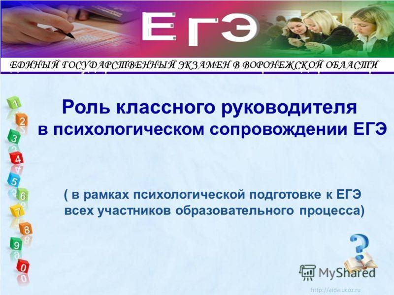 LOGO Роль классного руководителя в психологическом сопровождении ЕГЭ ( в рамках психологической подготовке к ЕГЭ всех участников образовательного процесса)
