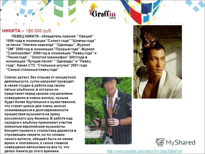 НИКИТА – 180 000 руб. http://www.youtube.com/watch?v=1Agy3Q8uFU4 ПЕВЕЦ НИКИТА - обладатель премий: