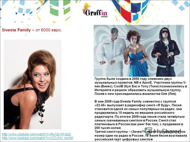 5ivesta Family – от 6000 евро. http://www.youtube.com/watch?v=RwTpr-XFdqQ http://www.youtube.com/watch?v=cCCcVU_mwWI Группа была создана в 2006 году слиянием двух музыкальных проектов: NB и AzonE. Участники группы V- kes (Викес), CoolB (Кул Би) и Ton