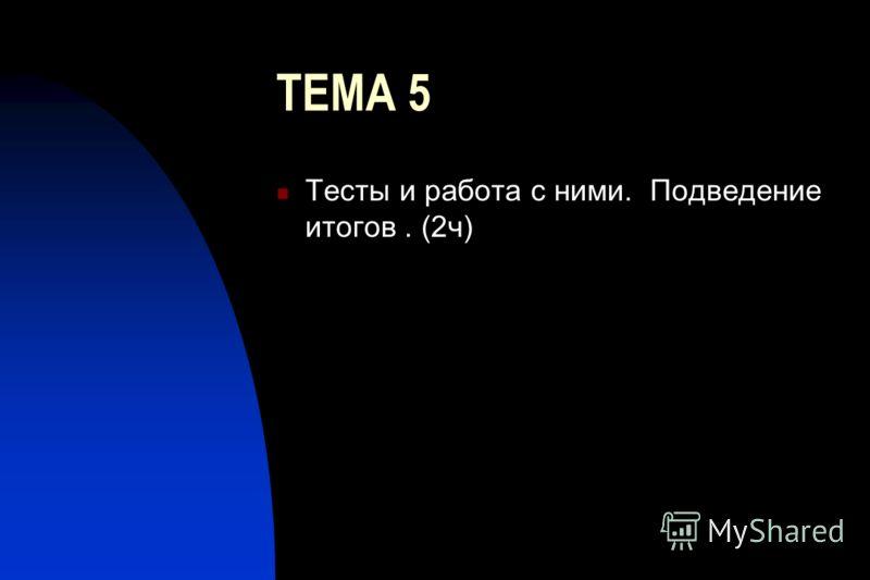 ТЕМА 5 Тесты и работа с ними. Подведение итогов. (2ч)