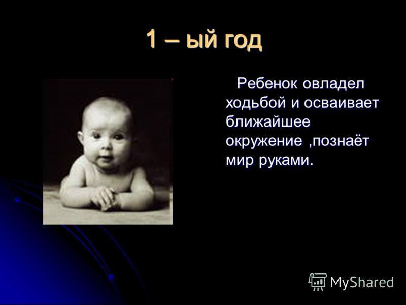 1 – ый год Ребенок овладел ходьбой и осваивает ближайшее окружение,познаёт мир руками. Ребенок овладел ходьбой и осваивает ближайшее окружение,познаёт мир руками.