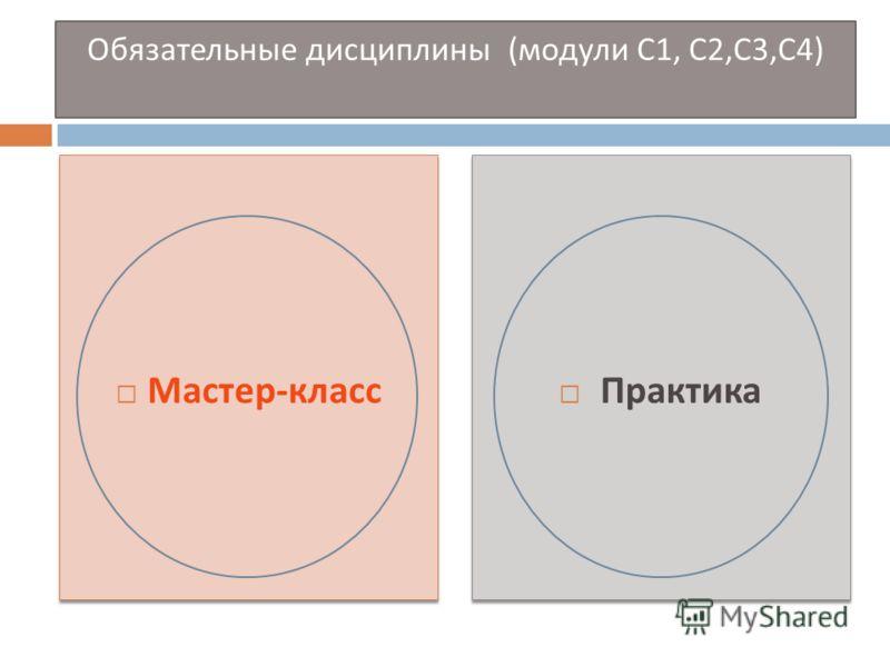 Обязательные дисциплины ( модули С 1, С 2, С 3, С 4) Мастер - класс Практика
