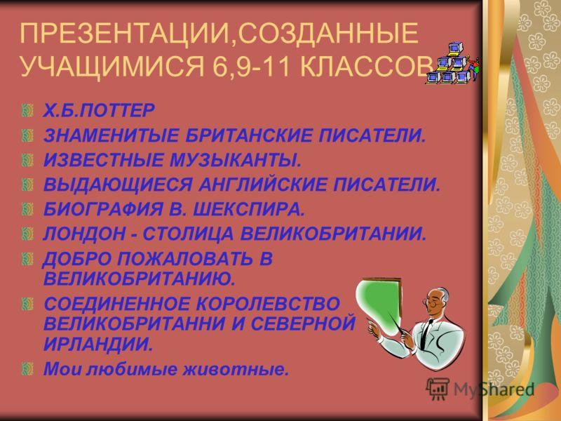 ПРЕЗЕНТАЦИИ,СОЗДАННЫЕ УЧАЩИМИСЯ 6,9-11 КЛАССОВ: Х.Б.ПОТТЕР ЗНАМЕНИТЫЕ БРИТАНСКИЕ ПИСАТЕЛИ. ИЗВЕСТНЫЕ МУЗЫКАНТЫ. ВЫДАЮЩИЕСЯ АНГЛИЙСКИЕ ПИСАТЕЛИ. БИОГРАФИЯ В. ШЕКСПИРА. ЛОНДОН - СТОЛИЦА ВЕЛИКОБРИТАНИИ. ДОБРО ПОЖАЛОВАТЬ В ВЕЛИКОБРИТАНИЮ. СОЕДИНЕННОЕ КОР