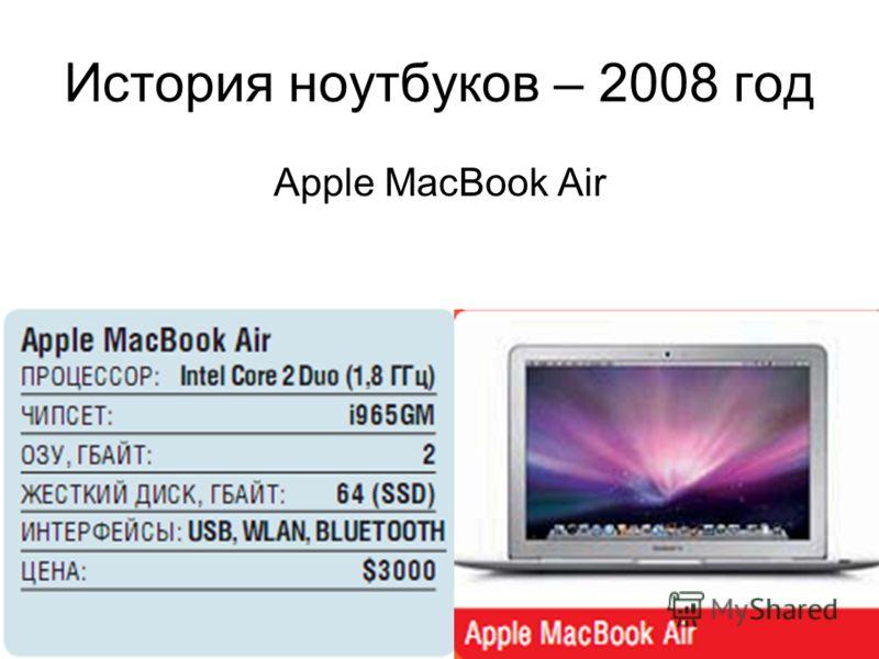 История ноутбуков – 2008 год Apple MacBook Air