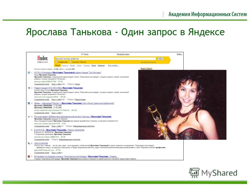 Ярослава Танькова - Один запрос в Яндексе
