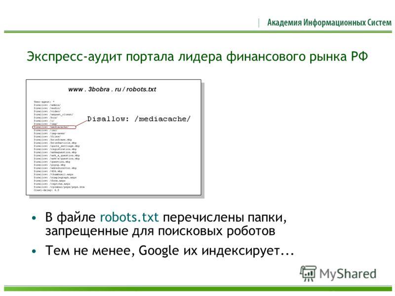Экспресс-аудит портала лидера финансового рынка РФ В файле robots.txt перечислены папки, запрещенные для поисковых роботов Тем не менее, Google их индексирует...