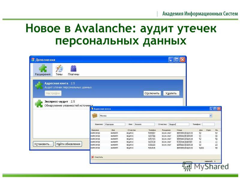 Новое в Avalanche: аудит утечек персональных данных