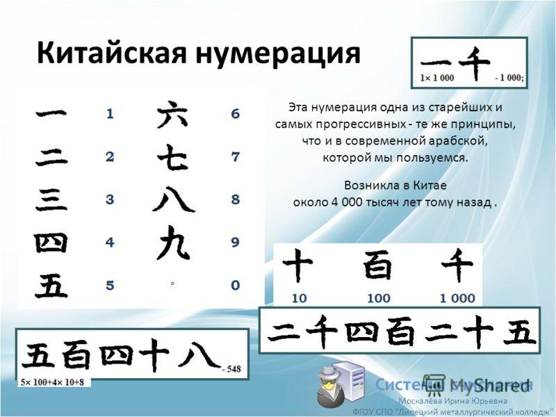 Китайская нумерация Системы счисления Эта нумерация одна из старейших и самых прогрессивных - те же принципы, что и в современной арабской, которой мы пользуемся. Возникла в Китае около 4 000 тысяч лет тому назад. Москалёва Ирина Юрьевна ФГОУ СПО