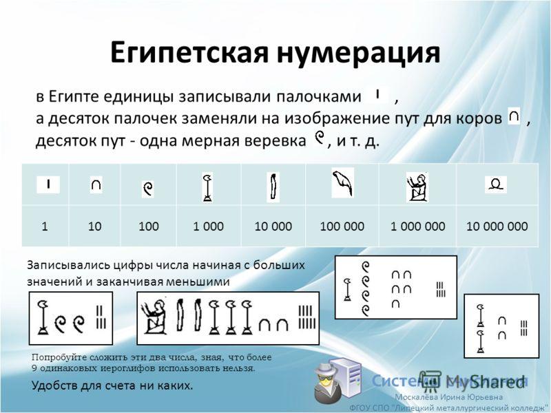 1101001 00010 000100 0001 000 00010 000 000 Египетская нумерация Системы счисления в Египте единицы записывали палочками, а десяток палочек заменяли на изображение пут для коров, десяток пут - одна мерная веревка, и т. д. Записывались цифры числа нач