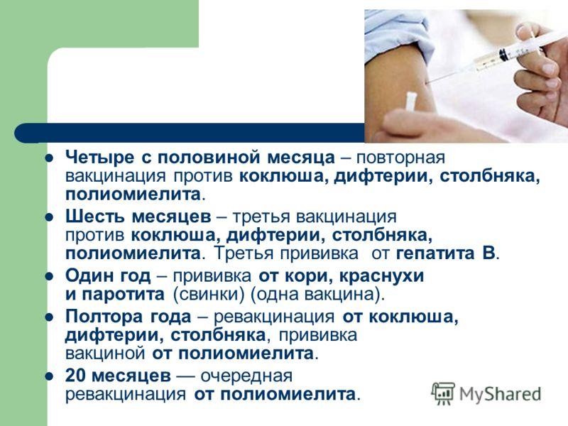 Четыре с половиной месяца – повторная вакцинация против коклюша, дифтерии, столбняка, полиомиелита. Шесть месяцев – третья вакцинация против коклюша, дифтерии, столбняка, полиомиелита. Третья прививка от гепатита В. Один год – прививка от кори, красн