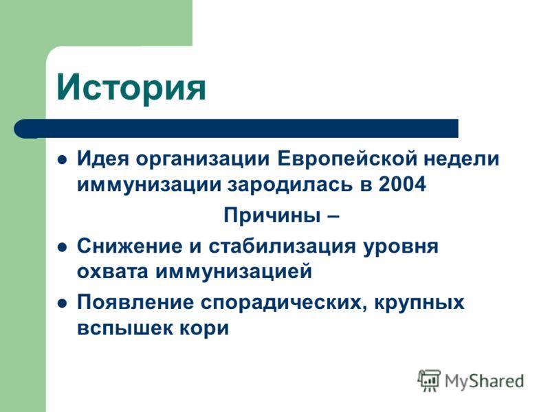 История Идея организации Европейской недели иммунизации зародилась в 2004 Причины – Снижение и стабилизация уровня охвата иммунизацией Появление спорадических, крупных вспышек кори
