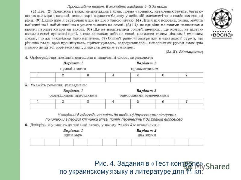 Структура посібника Рис. 4. Задания в «Тест-контроле» по украинскому языку и литературе для 11 кл.