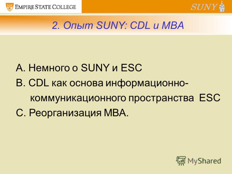 2. Опыт SUNY: CDL и MBA А. Немного о SUNY и ESC B. CDL как основа информационно- коммуникационного пространства ESC C. Реорганизация МВА.