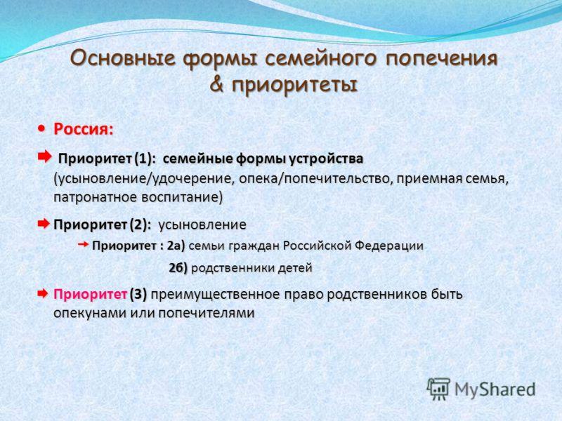 Основные формы семейного попечения & приоритеты Россия: Россия: Приоритет (1): семейные формы устройства (усыновление/удочерение, опека/попечительство, приемная семья, патронатное воспитание) Приоритет (1): семейные формы устройства (усыновление/удоч