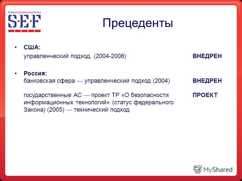 Прецеденты США: управленческий подход, (2004-2008)ВНЕДРЕН Россия: банковская сфера управленческий подход (2004)ВНЕДРЕН государственные АС проект ТР «О безопасности ПРОЕКТ информационных технологий» (статус федерального Закона) (2005) технический подх