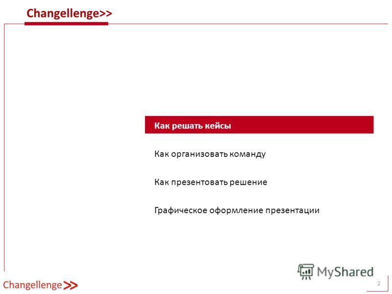 Changellenge>> 2 Как решать кейсы Как организовать команду Как презентовать решение Графическое оформление презентации