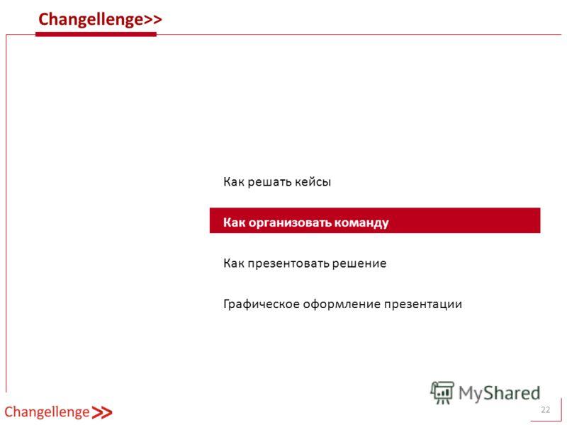 Changellenge>> 22 Как решать кейсы Как организовать команду Как презентовать решение Графическое оформление презентации