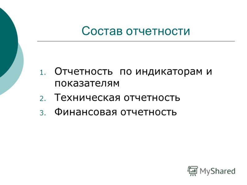 Состав отчетности 1. Отчетность по индикаторам и показателям 2. Техническая отчетность 3. Финансовая отчетность