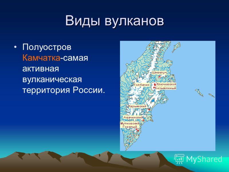 Виды вулканов Полуостров Камчатка-самая активная вулканическая территория России.